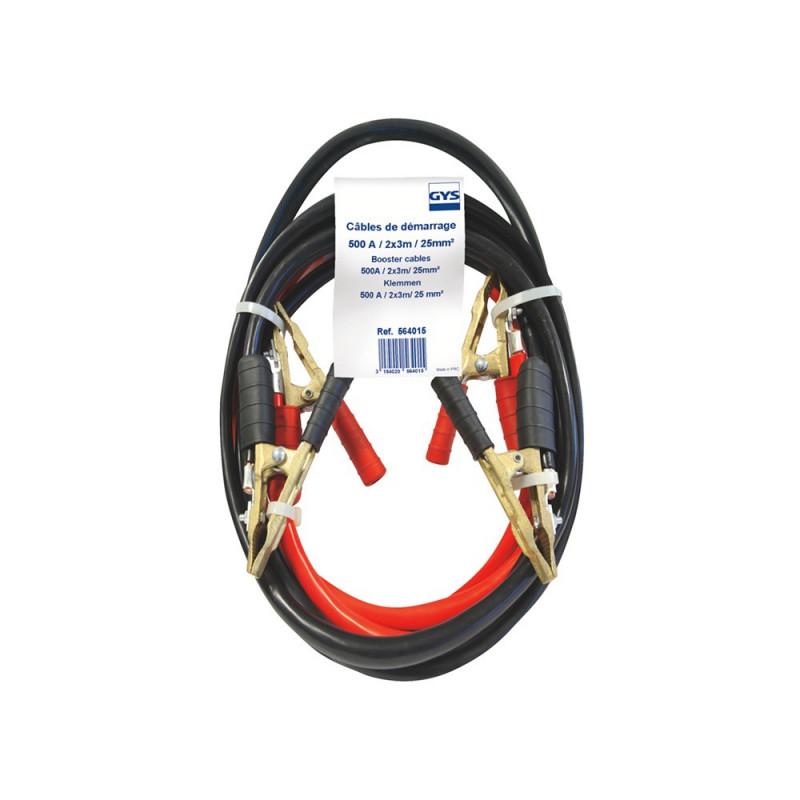 cable dépannage démarrage PRO GYS 500A 25mm² longueur 3M Pince pro laiton pur