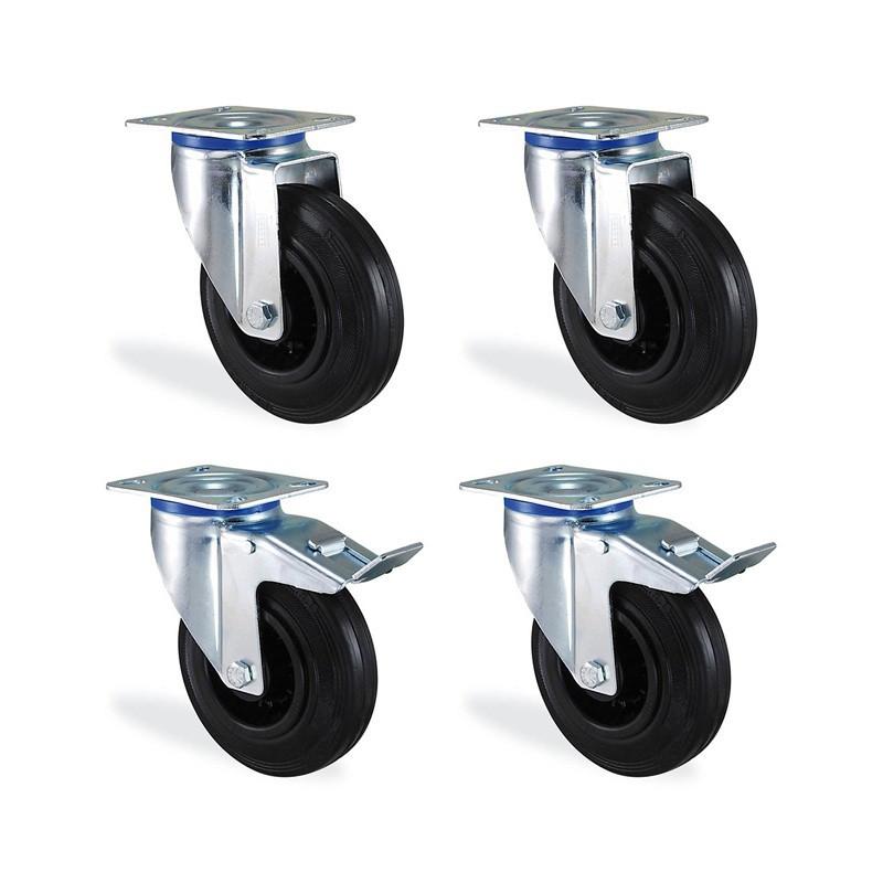 Lot roulettes pivotante et pivotantes à frein caoutchouc noir 80mm 150kg