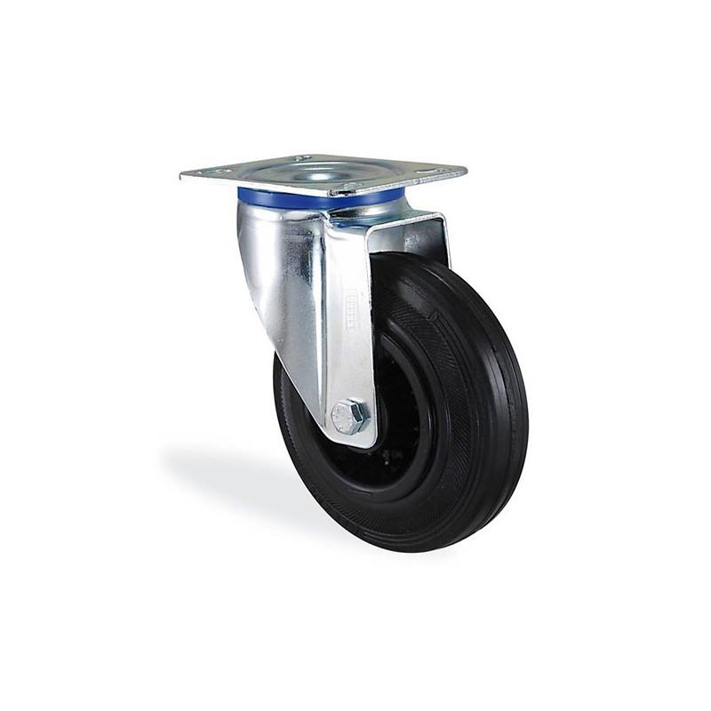 Roulette pivotante caoutchouc noir diamètre 100mm charge 70kg