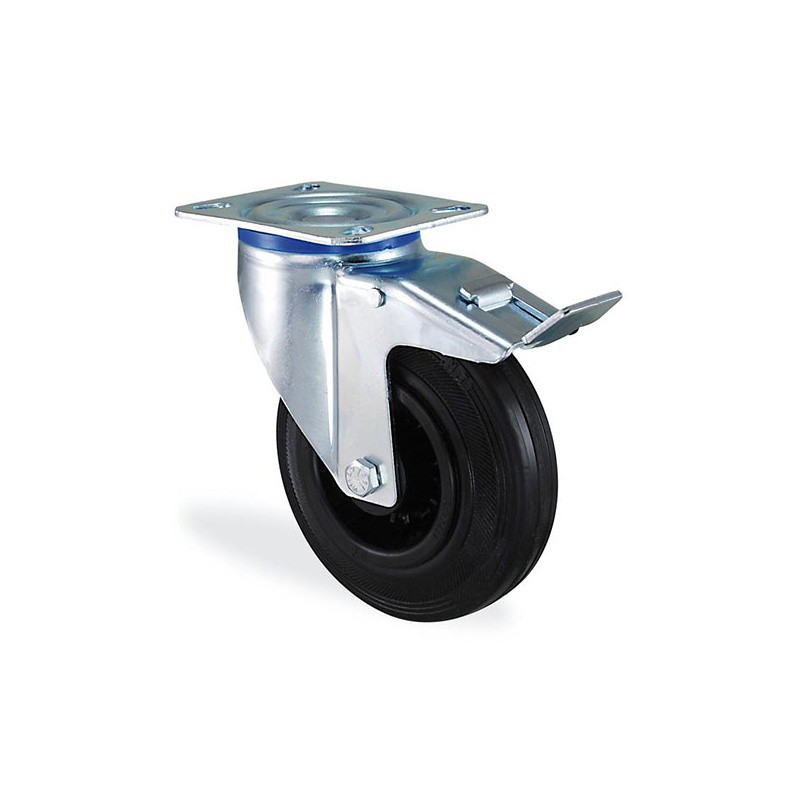 Roulette pivotante à frein caoutchouc noir diamètre 100mm charge 70kg