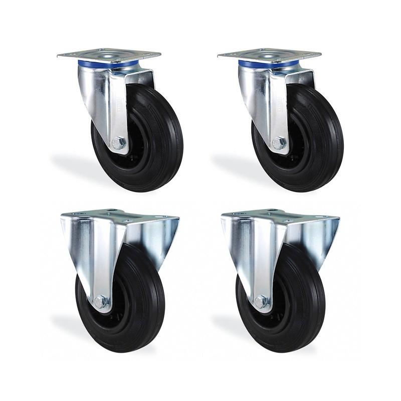 Lot roulettes pivotantes et fixe caoutchouc noir diamètre 100mm charge 210kg