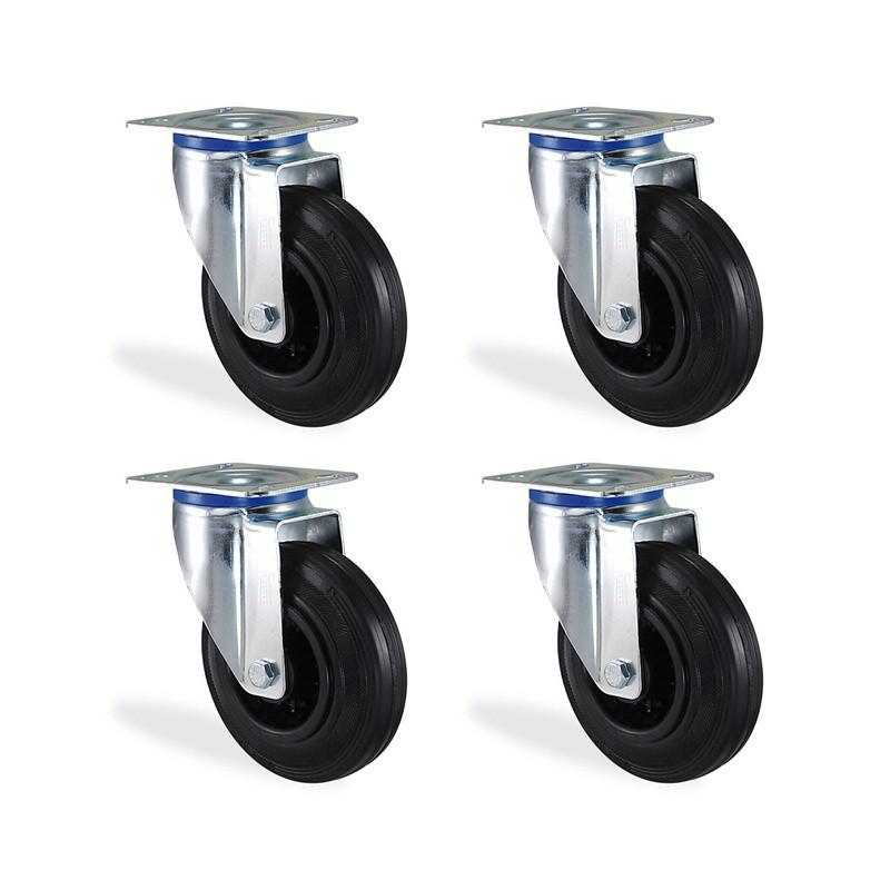 Lot roulettes pivotantes caoutchouc noir diamètre 160mm charge 405kg