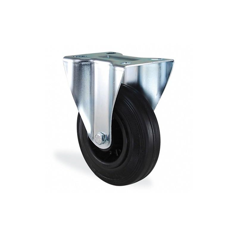 Roulette fixe caoutchouc noir diamètre 200mm charge 220kg