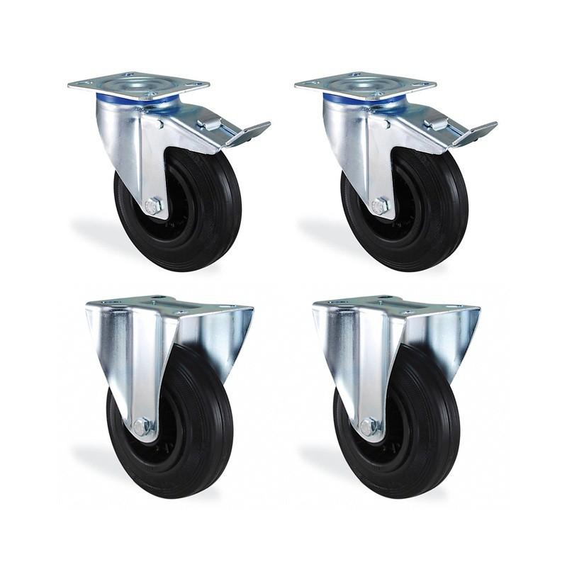 Lot roulette pivotantes à frein et fixe caoutchouc noir diamètre 200mm charge 660kg