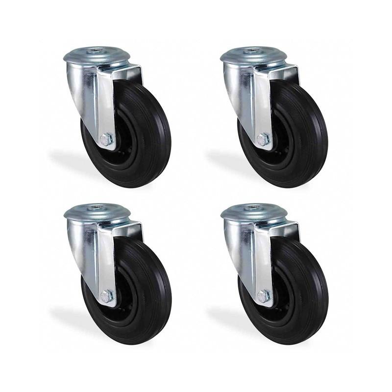 Lot roulette à oeil pivotante caoutchouc noir diamètre 125mm charge 300kg