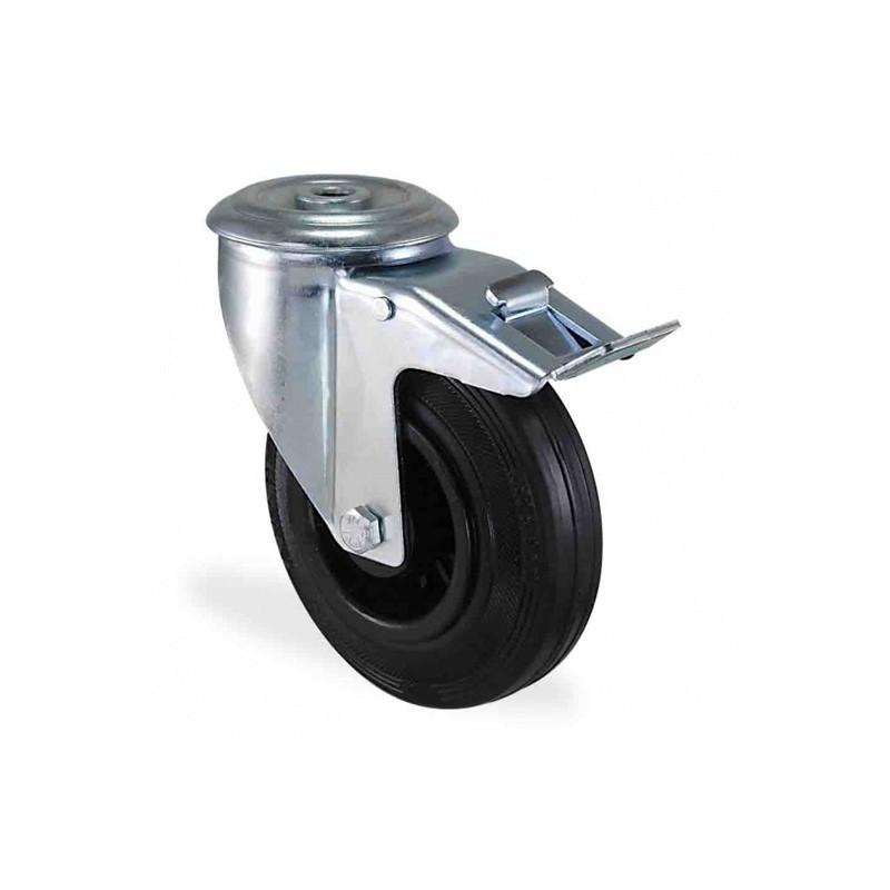Roulette à oeil pivotante à frein caoutchouc noir diamètre 200mm charge 220kg